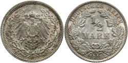 World Coins - GERMANY: 1918-F 1/2 Mark