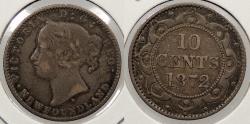 World Coins - CANADA: Newfoundland 1872-H Victoria 10 Cents