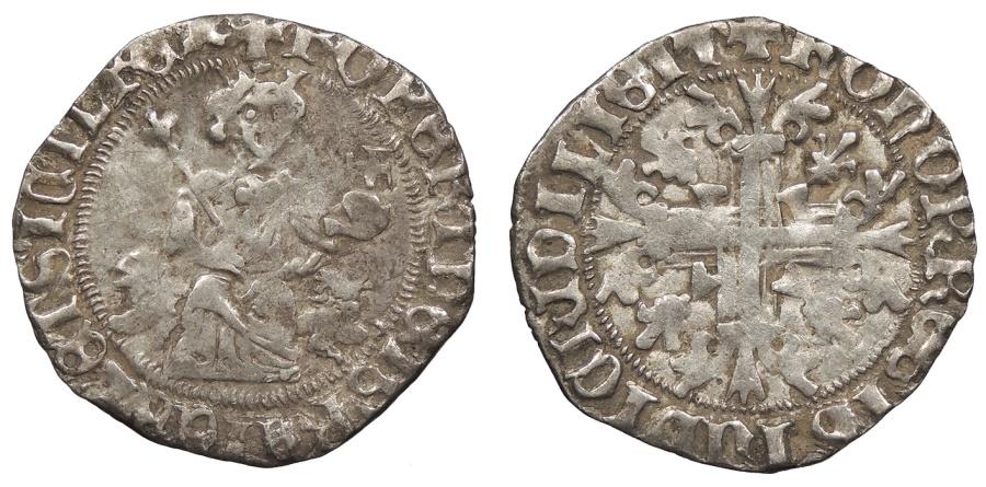 World Coins - ITALIAN STATES Kingdom of Naples Robert d'Anjou (Robert the Wise) 1309-1343 Gigliato (Carlino, Robertino) Near VF