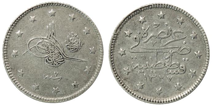 World Coins - TURKEY Muhammad V AH1327 ry7 (1915/1916) 2 piastres (2 Kurush) VF
