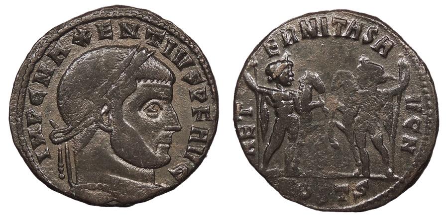 Ancient Coins - Maxentius 306-312 A.D. Follis Ostia Mint VF