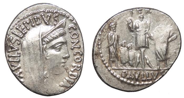 Ancient Coins - L. Aemilius Lepidus Paullus 62 B.C. Denarius Rome Mint EF