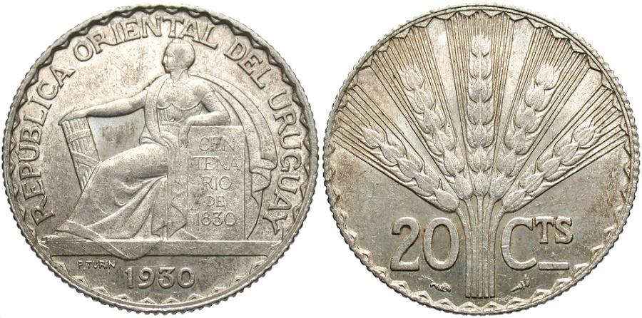 World Coins - URUGUAY: 1930 20 Centesimos