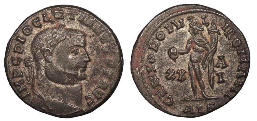 Ancient Coins - Diocletian 284-305 A.D. Follis Alexandria Mint Good VF