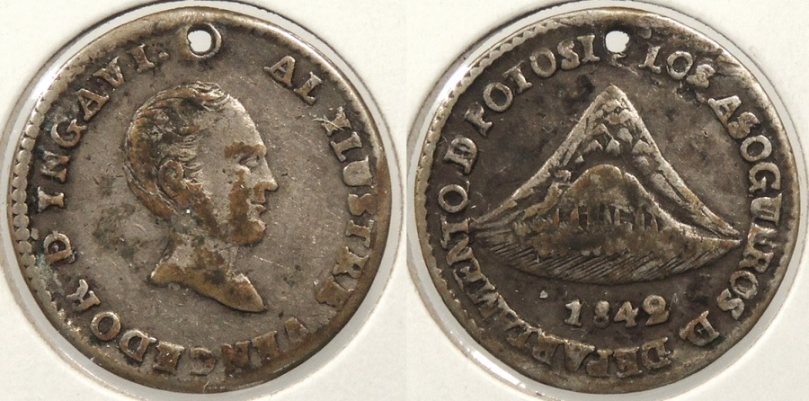 World Coins - BOLIVIA: 1842-POTOSI Proclamation 1 Sol
