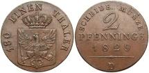 World Coins - GERMAN STATES: Prussia 1824-D 2 Pfennig