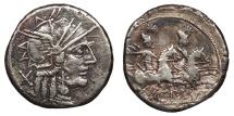 Ancient Coins - C. Plutius 121 B.C. Denarius Rome Mint Near VF