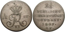 World Coins - GERMAN STATES: Schleswig-Holstein 1809 2 1/2 Schilling