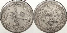 World Coins - TURKEY: AH1293 yr.33 (1907) 'el-Ghazi' to right of toughra. 5 Kurush