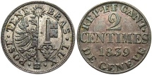 World Coins - SWISS CANTONS: Geneva 1839 2 Centimes