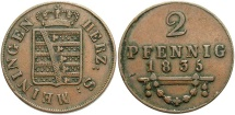 World Coins - GERMAN STATES: Saxe-Meiningen 1835 2 Pfennig