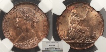 World Coins - GREAT BRITAIN Victoria 1873 Farthing NGC MS-65 RB