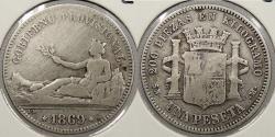 World Coins - SPAIN: 1869 2 Pesetas