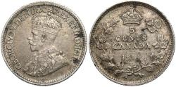 World Coins - CANADA: 1914 5 Cents