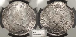 World Coins - AUSTRIA Ferdinand I 1810-A 20 Kreuzer NGC MS-64