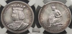 Us Coins - 1893 Isabella 25 Cents (Quarter) NGC MS-62