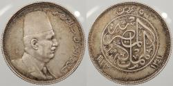 World Coins - EGYPT: AH 1341 (1923) Scarce, no 'H' type. 5 Qirsh (Piastres)