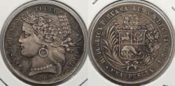 World Coins - PERU: 1880-B.F Dot after 'B' below wreath. Peseta