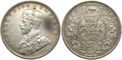 World Coins - INDIA: 1936-b 1/2 Rupee