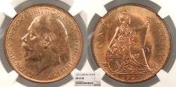 World Coins - GREAT BRITAIN George V 1927 Penny NGC MS-65 RB