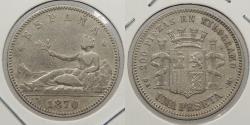 World Coins - SPAIN: 1870 (73)-DE M Peseta