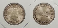 World Coins - NETHERLANDS ANTILLES: 1954 1/4 Gulden