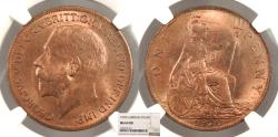 World Coins - GREAT BRITAIN George V 1920 Penny NGC MS-64 RB