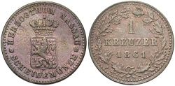 World Coins - GERMAN STATES: Nassau 1861 1 Kreuzer