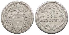 World Coins - ITALIAN STATES Papal States Clement XI Yr. XIV (1713) Grosso EF