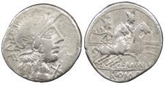 Ancient Coins - Q. Minucius Rufus 122 B.C. Denarius Rome Mint VF
