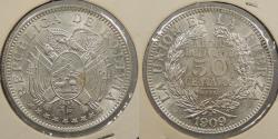 World Coins - BOLIVIA: 1909-H 50 Centavos