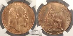 World Coins - GREAT BRITAIN Edward VII 1902 Penny NGC MS-64 RD