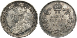 World Coins - CANADA: 1918 10 Cents