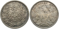 World Coins - GERMANY: 1918-A 1/2 Mark