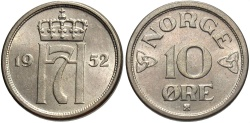 World Coins - NORWAY: 1952 10 Ore