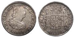 World Coins - MEXICO Carlos (Charles) IV 1807-Mo TH 1/2 Real AU