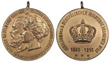 World Coins - GERMAN STATES Schaumburg-Lippe By Hoffstatter Friedrich & Princess Adolf 1910 AE Gilt Bronze Medal AU/UNC