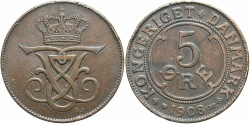 World Coins - DENMARK: 1908 5 Ore