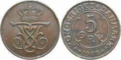 World Coins - DENMARK: 1908 5 Ore