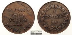 World Coins - BOLIVIA 1864-POTOSI Centecimo ANACS VF-30