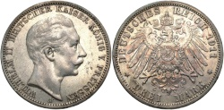 World Coins - GERMANY: Prussia 1911 A 3 Mark