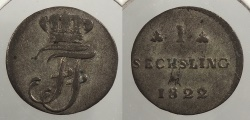 World Coins - GERMAN STATES: Mecklenburg-Schwerin 1822 Sechsling