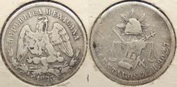 World Coins - MEXICO: 1873-Zs H 25 Centavos