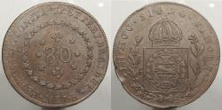World Coins - BRAZIL: 1827-R Rotated die double-strike or possible overstrike. 80 Reis