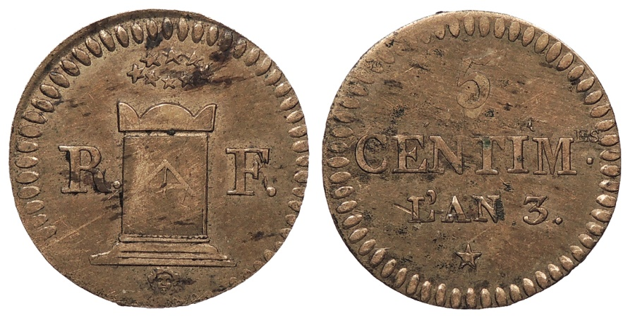 World Coins - FRANCE Convention & Directory L'an 3 (1794/1795) 5 Centimes AU