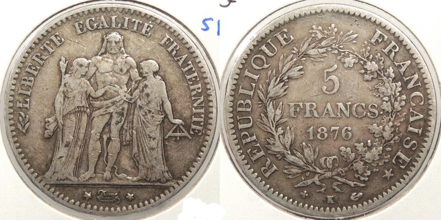 World Coins - FRANCE: 1876-K 5 Francs