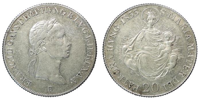 World Coins - HUNGARY Franz II 1833-B 20 Krajczar EF