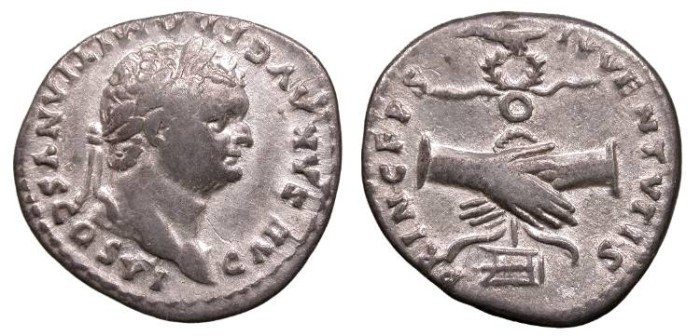 Ancient Coins - Domitian, as Caesar 69-79 A.D. Denarius Rome Mint Near VF