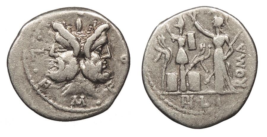 Ancient Coins - M. Furius L.f. Philus Circa 120 BC Denarius Rome Mint VF