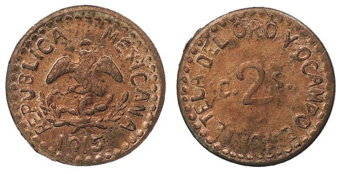 World Coins - MEXICO Puebla- Tetela del Oro y Ocampo Mexican Revolution 1915 2 Centavos BU